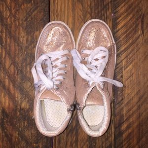 Justice for Girls rose gold high tops in size 3